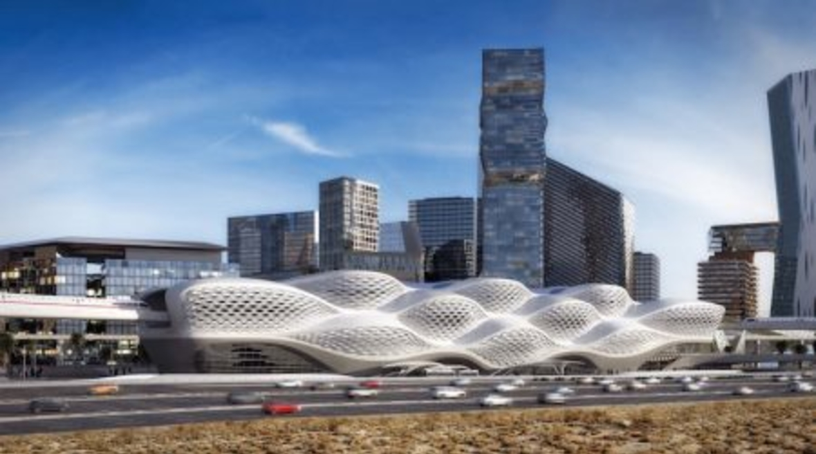 King Abdullah Financial District metro station's futuristic facade is inspired by desert wind patterns
