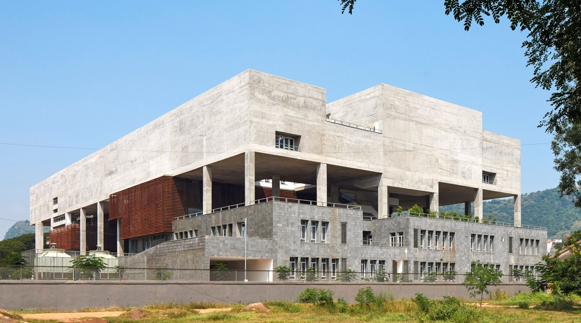 Brutalist Indian architecture school features floating staircases