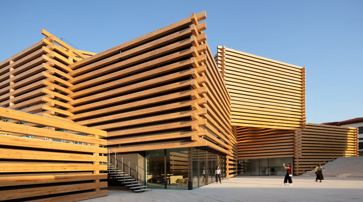 Kengo Kuma's stacked timber museum opens in Turkey