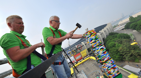 Video: World's tallest LEGO tower, 31.9m, in Seoul