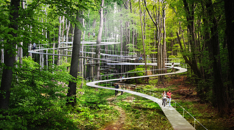 Istanbul forest park includes swings, hammocks and trampolines