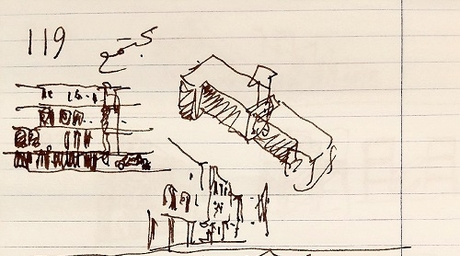 Palestinian architect Rasem Badran sketches his thoughts as judge of housing competition