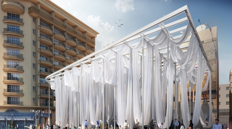 A public pavilion with swing-like hammocks have been proposed for Dubai