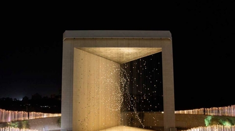 The Founder's Memorial features dynamic three-dimensional portrait of Sheikh Zayed