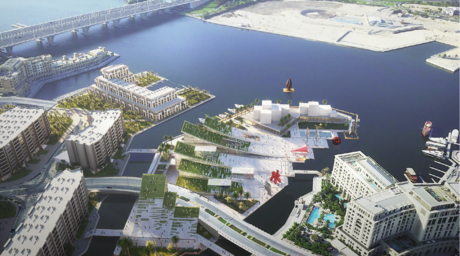 Perkins+Will's concept design for a cultural district located along the Dubai Creek appears to peel back from the land