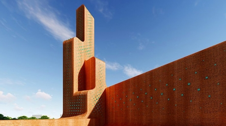 Arash G Tehrani's contemporary mosque features extended plaza made of bricks