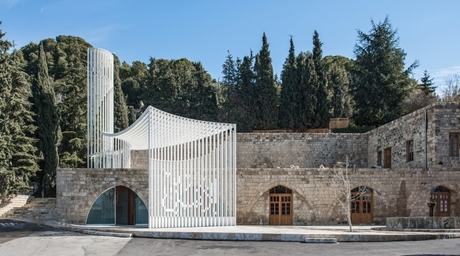 L.E.FT Architects has renovated an existing structure into a contemporary mosque using steel frames