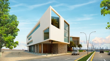 Lebanese designer and architect Fadi Sarieddine designs an L-shaped office space in Dubai