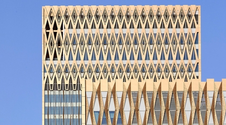 Gensler-designed Burj Alshaya in Kuwait City features mashrabiya screens on facade