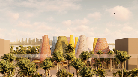 Spanish Pavilion for Expo 2020 Dubai features a series of recyclable domes that encourage air flow
