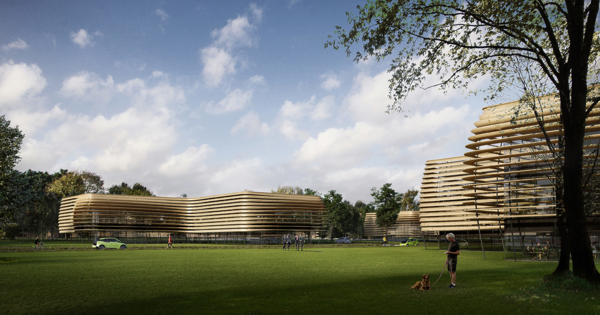 Carbon neutral, Eco Park, England, Football stadium, Sustainability, Technology hubs, Timber bridge, Wooden architecture, Wooden football stadium, Wooden footbridge, Wooden stadium, Zaha Hadid Architects