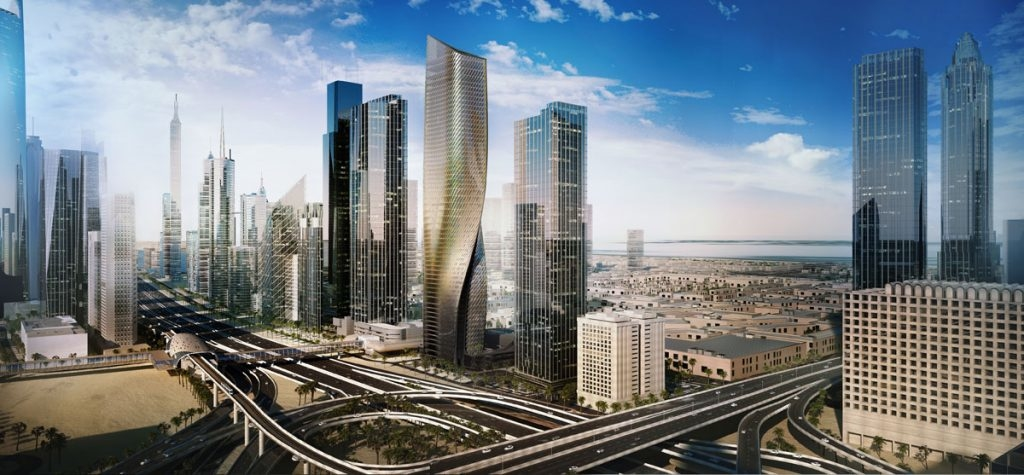 Al Wasl District, Arabtec, Architects, Architecture, Buildings, Construction, Design, Dubai, Mixed-use project, Sheikh Zayed Road, Skyscraper, Towers, Twisting tower, UAE, UN Studio, Wasl Tower, Werner Sobek Group
