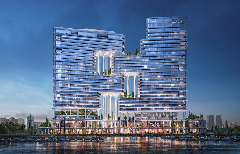 Architecture, Dorchester Collection, Dubai, Dubai Canal, Foster + Partners, Hotel design, Hotels, Marasi, Omniyat