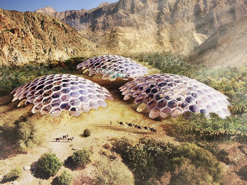 Al Hajar Mountains, Architecture, Baharash Architecture, Biodome, Nature, Sustainability, UAE