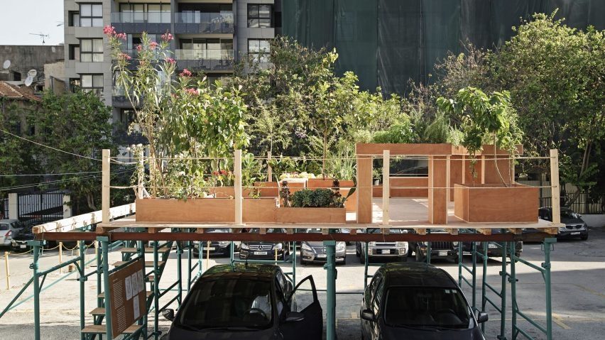 Nathalie Harb's design for a platform that covers cars and creates a greenspace in the city