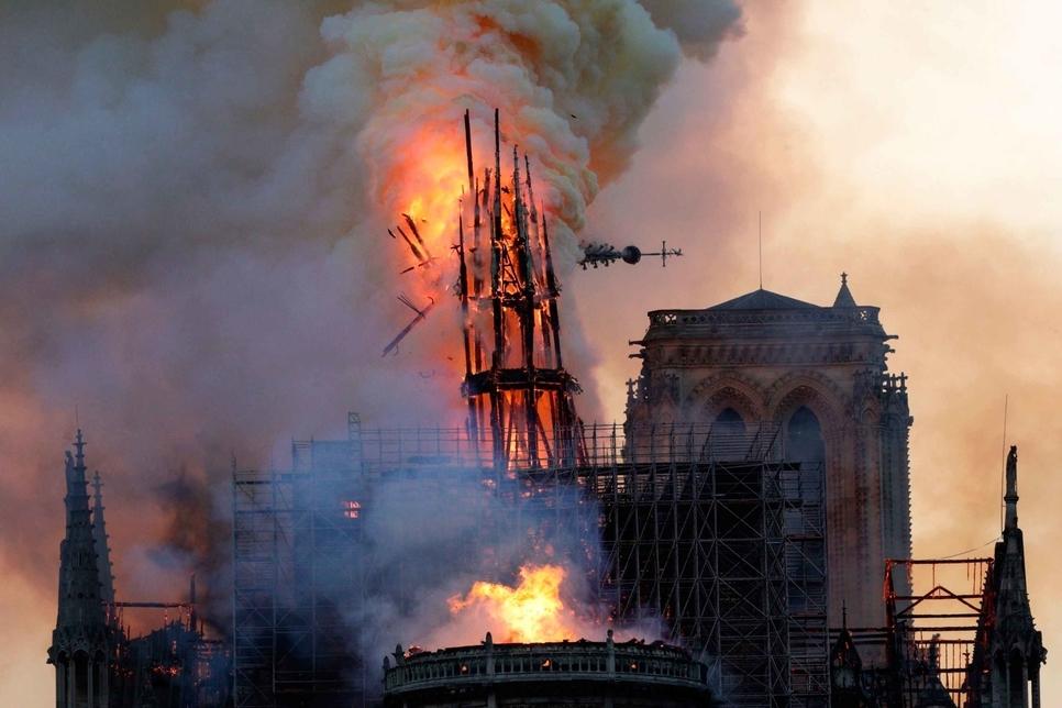 Notre-Dame de Paris's spire moments before its collapse