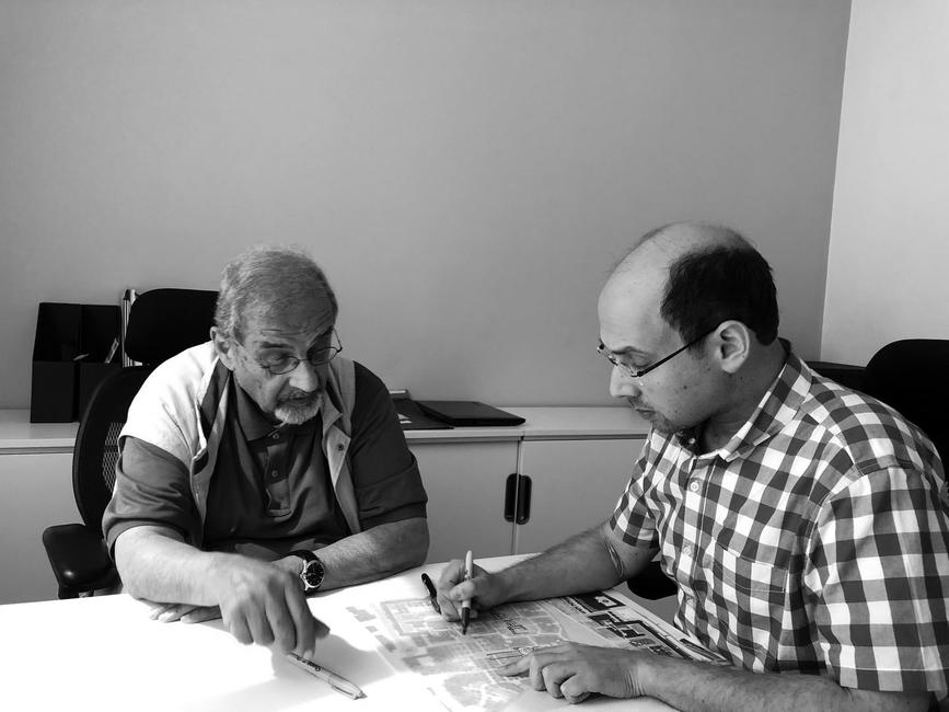 Jamal Badran, founder of Badran Design Studio sits with father and renowned architect Dr Rasem Badran, founder of Dar Al-Omran