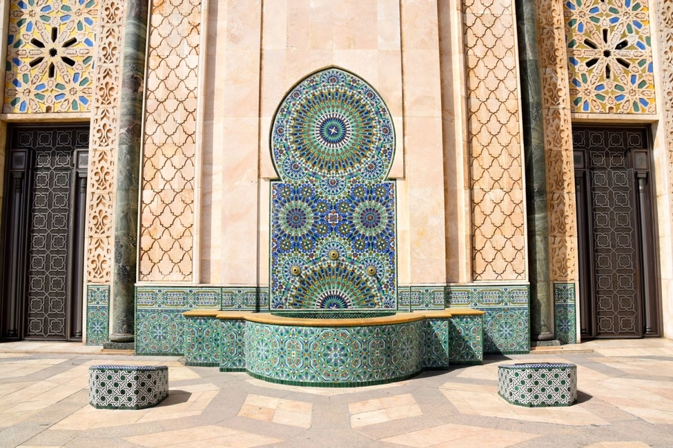 Water fountain at Hassan II Mosque in Casablanca, Morocco